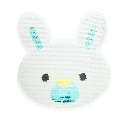Lentejuelas inflexión aplicación conejos conejo blanco//plata