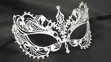 Venetian Style Laser Cut Metal WHITE Filigree Masquerade Party Mask Diamante