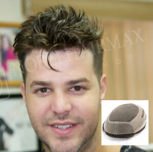 Mens Toupee Hair Replacement System Skin Front With Mono