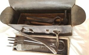 Antique-Collection-of-Farriers-Tools-Horse-Shoe-Blacksmith-Bag-Rasp-Hammer-Kit