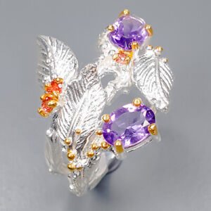 Amethyst Ring Silver 925 Sterling Vintage Size 7.5 /R146196