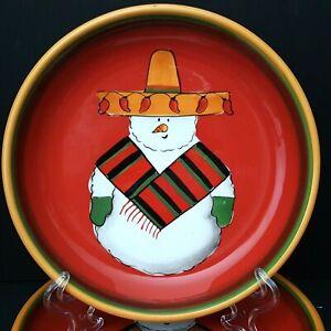 Clay-Art-Jalapeno-Snowman-3-Salad-Plates-Red-Southwest-Xmas-Santa-Cookie-Plate