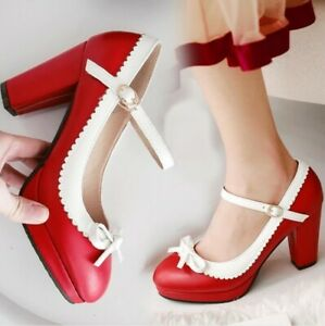 Women-Mary-Janes-Ankle-Strap-Lolita-Dress-Shoes-Sandals-High-Heel-Bowknot-Pumps