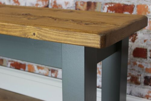 Handpainted in ANY Farrow & Ball Colour Solid Wood Wooden Bench Farmhouse