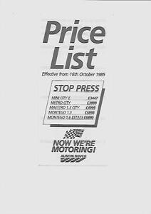 Austin Rover Minimetromaestromontegoprice List Car Van
