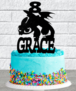 Dragon Cake Topper PERSONALISED Boys Blue Black Gold Silver Birthday Decorations