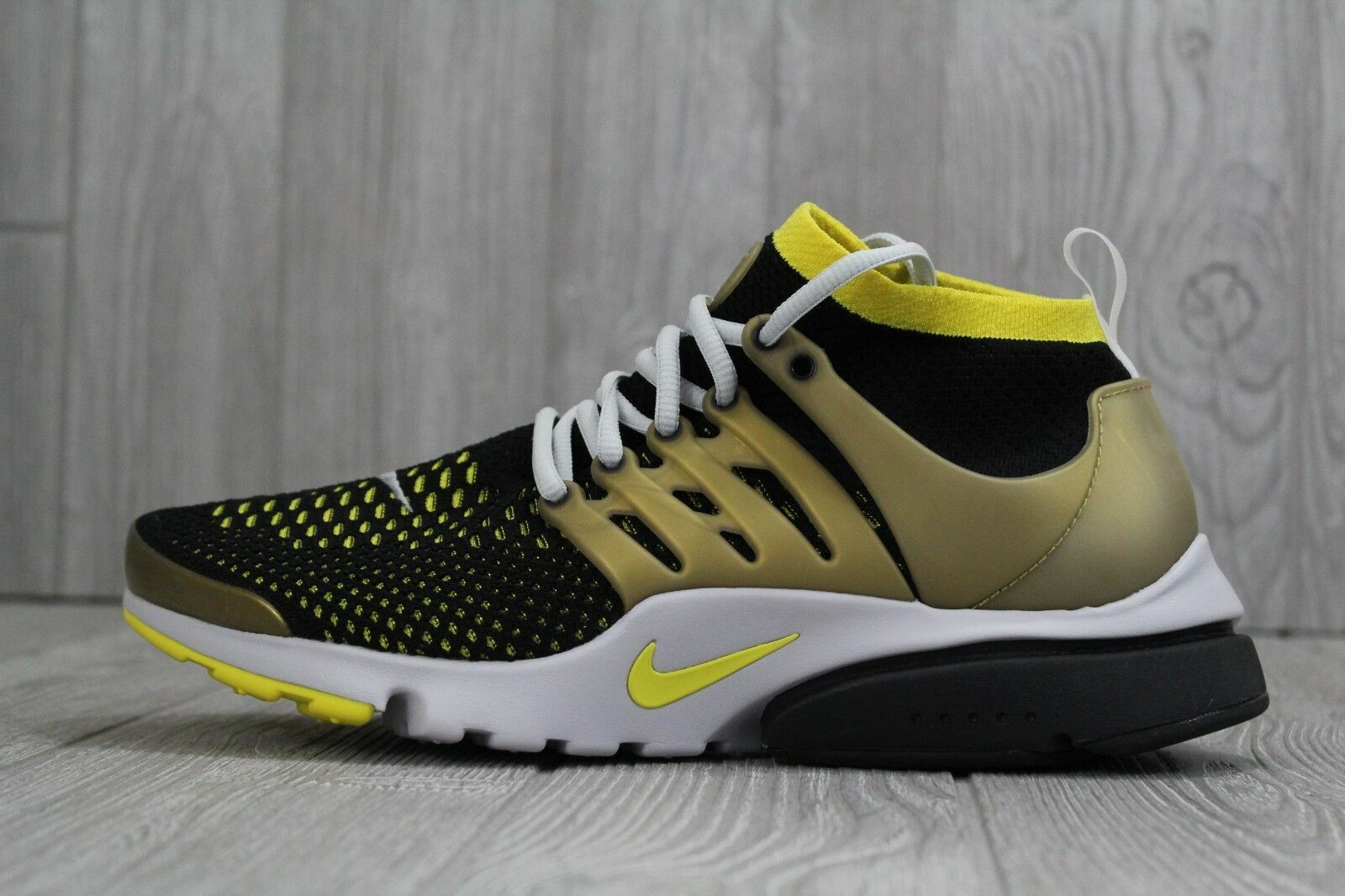 31 New Nike Air Presto Flyknit Ultra Mens Shoes Black/Gold Sz 10 835570 007