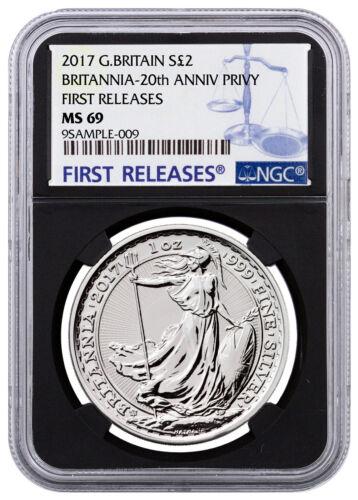 2017 Britain 1 oz Silver Britannia Trident Privy £2 NGC MS69 FR Black SKU46486