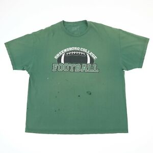 Destroyed-Greensboro-College-Football-T-Shirt-Faded-Distressed-Green-2XL