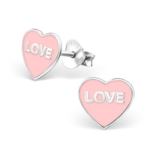 Image Is Loading Pink Love Heart Sterling Silver Stud Earrings