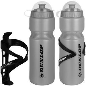 3er Set Trinkflaschen Dunlop Fahrradflasche mit Halter Fahrrad Wasserflasche