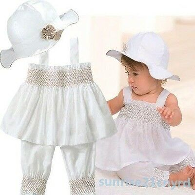 NEW Toddler Baby Kids Ruffled Outfit Girl Top+Pants+Hat Set Dress 3 Pcs 0-3Years