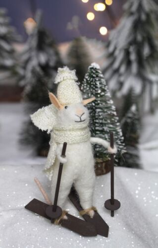 Kitsch Felt Vintage Xmas Decoration Gisela Graham Woollen White Mouse on Skis
