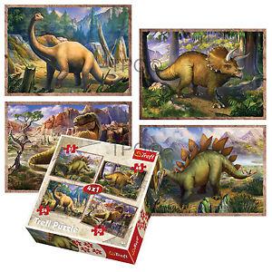 Trefl-4-In-1-35-48-54-70-Piece-Boys-Kids-Dinosaurs-Jigsaw-Puzzle-Set-NEW