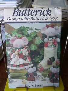Butterick-Luv-039-n-Stuff-6383-Merry-mice-coverups-xmas-stocking-ornaments-NEW