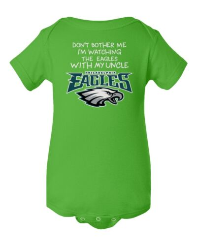 Watching With Uncle Dont Bother Philadelphia Eagles Baby Short Sleeve Bodysuit