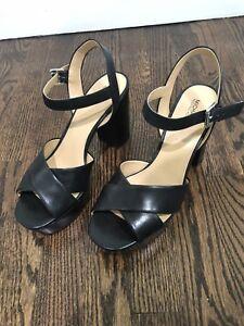 Michael Kors Womens 9 M Black Leather Platform High Heel Shoes - NEW !! No Box