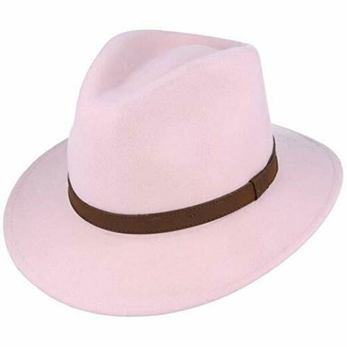 Mens Crushable Indiana 100/% Wool Felt Fedora Trilby Hat With Wide Band Full Size