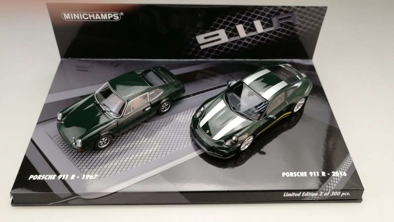 Minichamps 1/43 Porsche 911 R 1967 2016 Two Car Set verde Die-Cast Model Car NIB