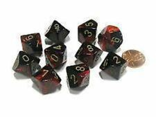 Chessex Dice Sets:Gemini Black & Red with Gold -Ten Sided Die d10 S..CHX 26233