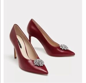 8101a107c9c Zara AW17 Leather High Heel Court Shoes With Gem Detail Size 8