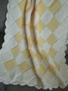 """BABY SHOWER GIFT. APPROX.38/""""x38/"""" WHITE BABY BLANKET WITH HOOD.HAND-CROCHETED"""