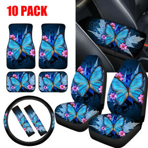 Women's Butterfly Car Seat Covers Full Set of 10PC + Floor Mats,Seat Belt Pads