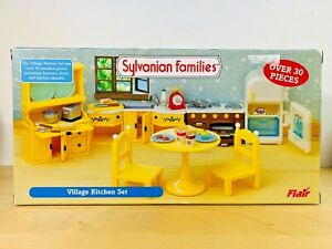 Sylvanian-Families-Vintage-Yellow-Village-Kitchen-Set-Flair-Rare