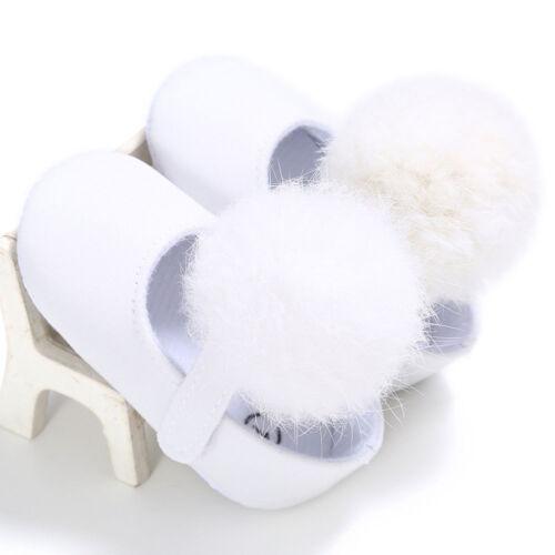 Toddler Girls Hairball Crib Shoe Newborn Baby Soft Sole Anti-slip Sneakers KW