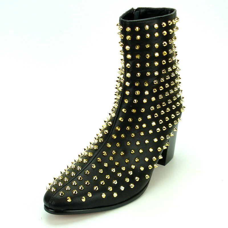 FI-7142 Black Leather gold Spikes Fiesso by Aurelio Garcia Boot with Side Zipper