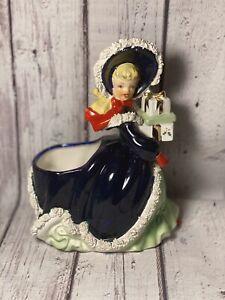 Napco Christmas Shopper Girl No Poodle Ceramic Figurine Planter Japan AX4641