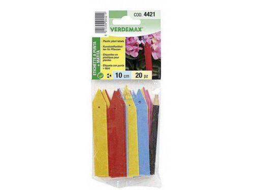 Etichette Colorate a Punta Plastica+Matita per Vasi e Giardino cm10 Verdemax New