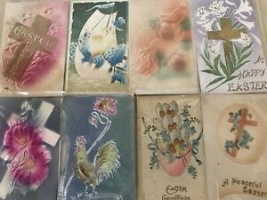 Pretty-Lot-of-10-Airbrushed-Heavy-Embossed-Antique-Easter-Postcards-b492