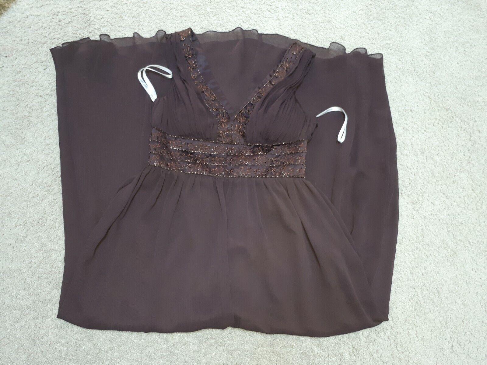 Davids Bridal Halter Ruched Waist Georgette Bridesmaid Dress-Color Brown 10