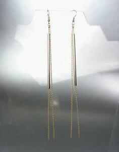 CHIC-amp-UNIQUE-Gold-Hollow-Bar-Chains-Shoulder-Duster-Extra-Long-Dangle-Earrings