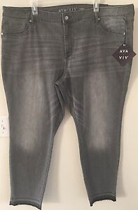 367ced8ac89a53 Ava and Viv Jegging Skinny Jeans Size 24W Gray Wash DISTRESSED Power ...