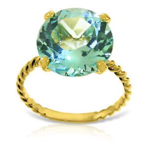 Genuine-12-0-mm-Blue-Topaz-Round-Cut-Gemstone-Ring-14K-Yellow-White-Rose-Gold