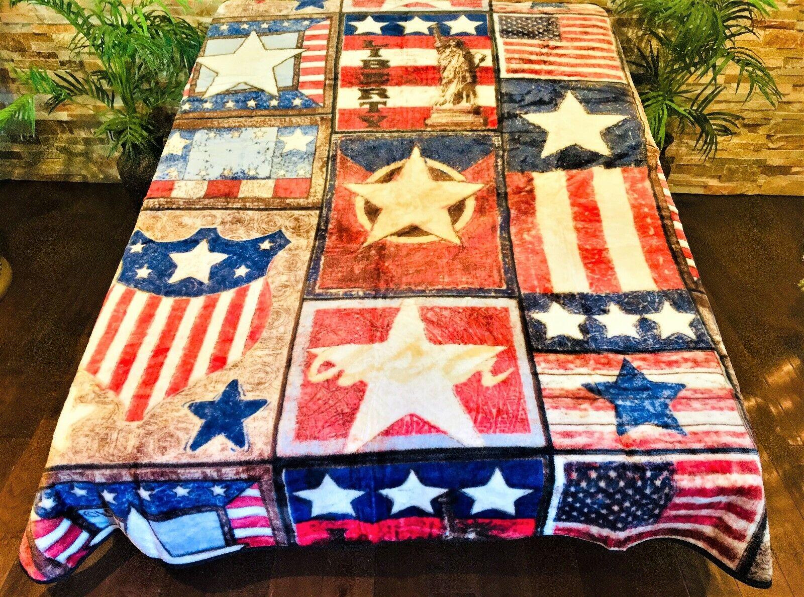☀️New  79x96 Luxury MEDIUM Weight Queen Blanket Patchwork Stars Stripes USA Flag