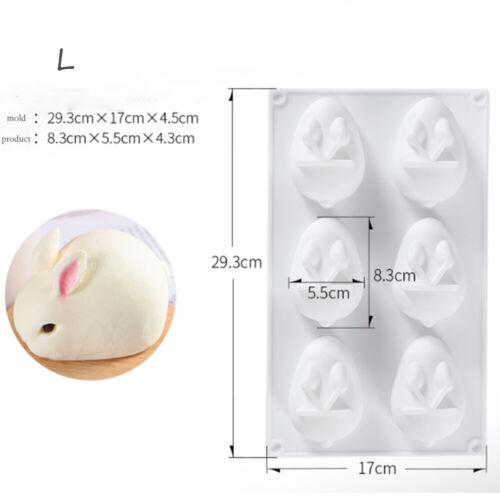 6 Hole Silicone Bunny Mold 3D Rabbit Shape Dessert Molds Bakings Home Decor