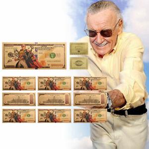 Amazing-Spiderman-Stan-Lee-Gold-Foil-10PCS-Banknote-Set-Super-Heroes-Fans