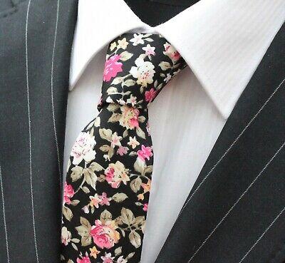 Marchio Di Tendenza Tie Cravatta Slim Nero Con Qualità Rosa Floreale Cotone T6028-mostra Il Titolo Originale Pregevole Fattura
