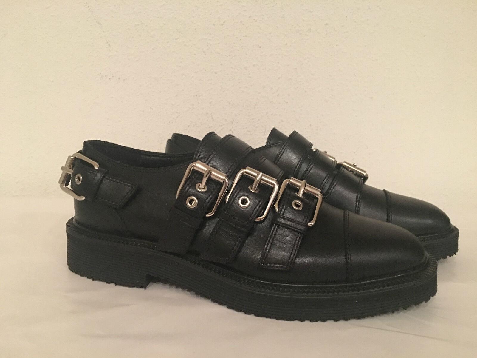 disegni esclusivi NEW GIUSEPPE GIUSEPPE GIUSEPPE ZANOTTI nero LEATHER HILARY BUCKLED OXFORD scarpe Dimensione 36.5  1195  più preferenziale