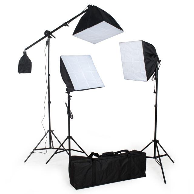 3 x Fotostudio Studioleuchte Set Softbox Studiolampe Stativ Galgenstativ Photo