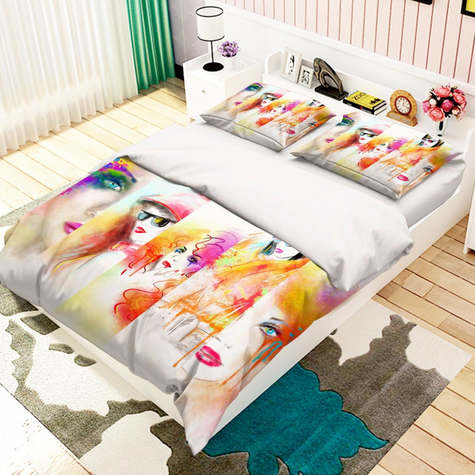 3D Woman Paint 886 Bed Pillowcases Quilt Duvet Cover Set Single Queen UK Carly