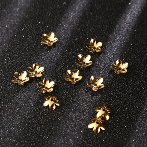 Wholesale 200pcs//lot Gold tone Stainless Steel Flower Bead Caps 6mm//7.5mm