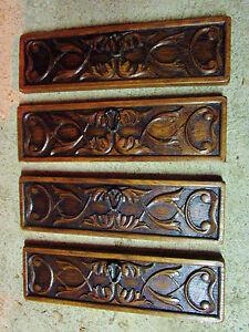 4-Antiguas-Interruptores-de-Cajones-Madera-Sculpte-Deco-Ondulada-tallado-Wood