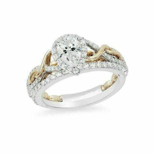 Details about  /Enchanted Disney Rapunzel Pear Cut Diamond Engagement Ring Set 925 Silver