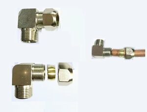 """Compression 3//8/"""" Tube OD x 3//8/"""" BSPP BSP Male Pipe Fitting 90 Deg Elbow P-ED#74"""