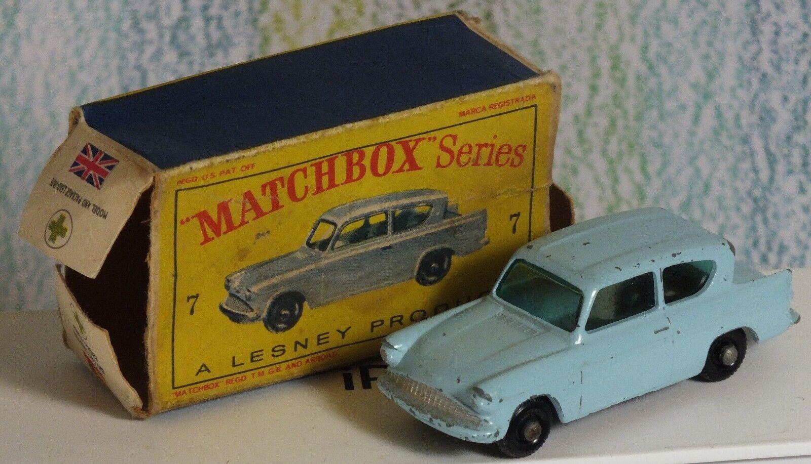 Matchbox Lesney b pale bluee Ford Anglia VG NMinFB