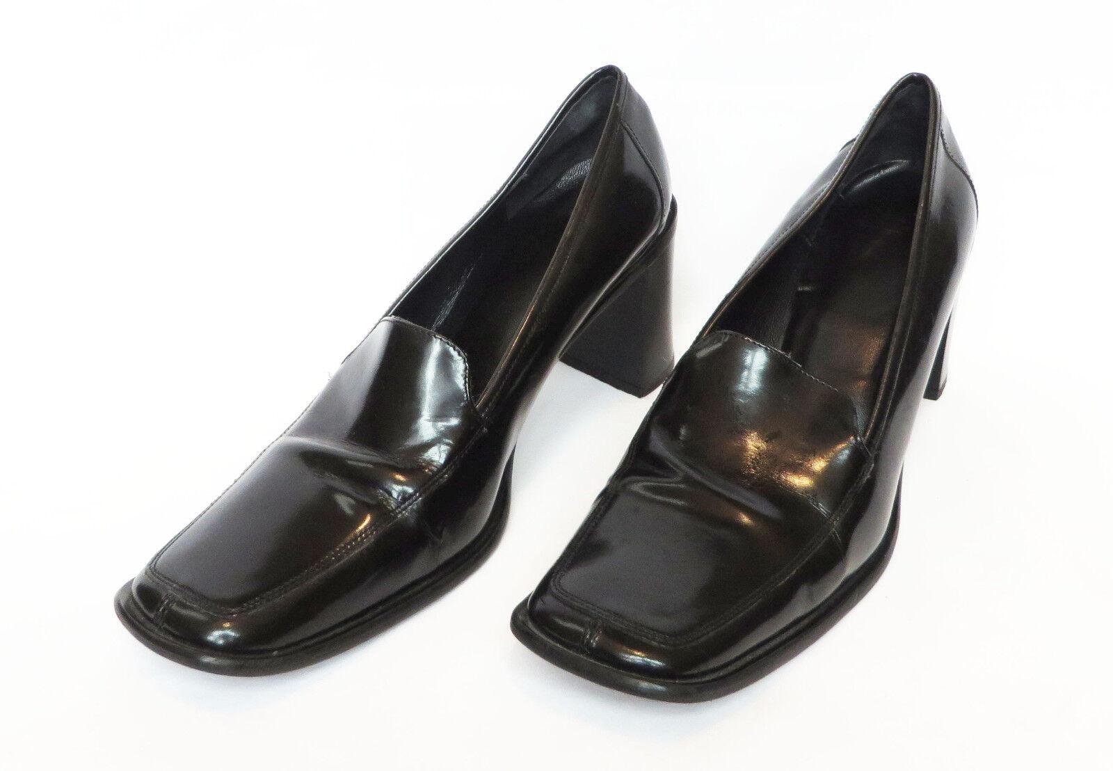Dedo del pie cuadrado negro entrenador entrenador entrenador Elsa para Mujer sin Cordones Tacones Gruesos Zapatos 9.5 B  precioso